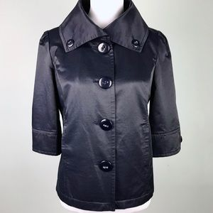 Revue Dark Blue Oversized Button Collar Jacket